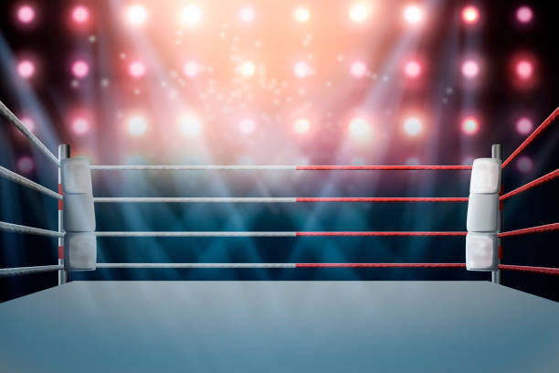 boxing ring with illumination by spotlights. digital effect 3d render. stock photo