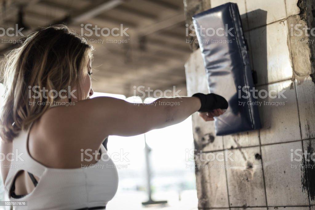 Boxing training outside stock photo