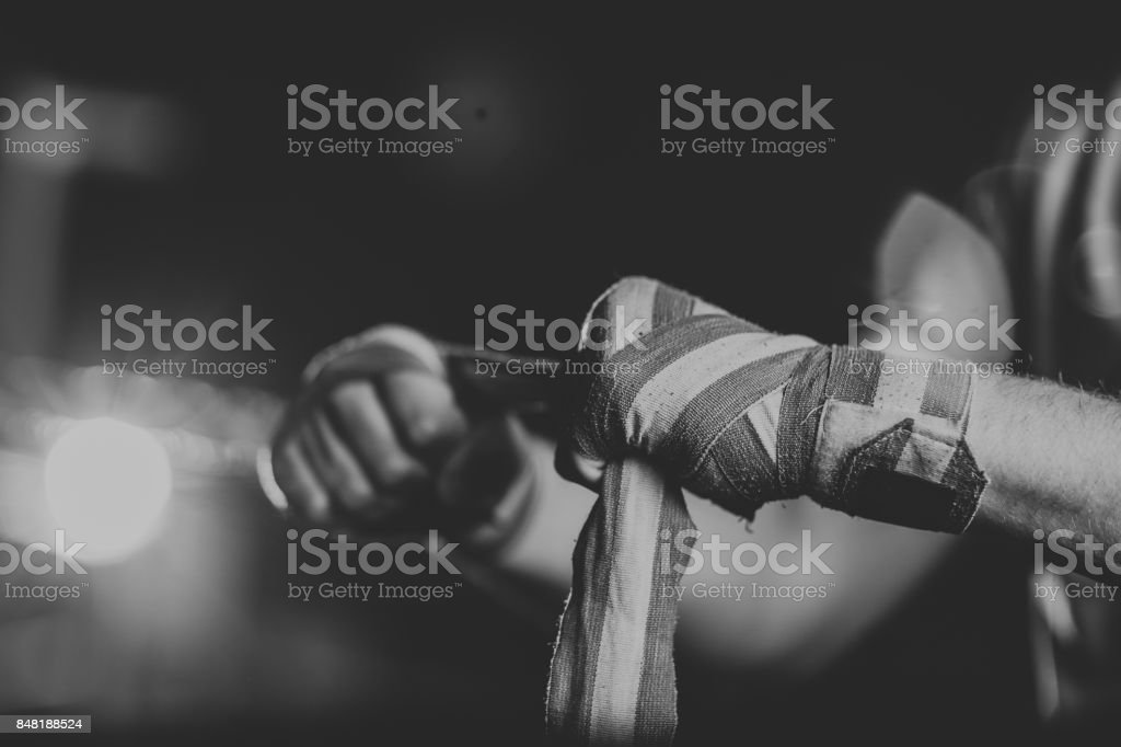 Boxing wraping hands stock photo