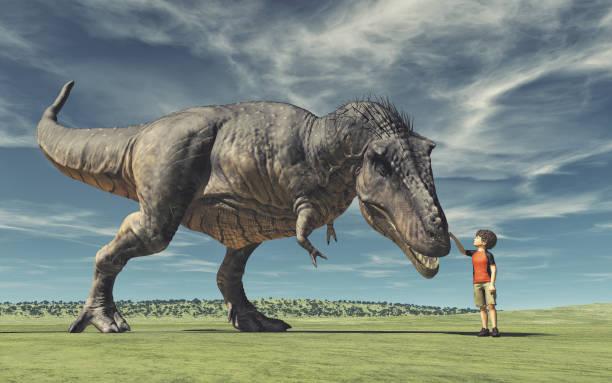 ein junge und ein großer dinosaurier - dinosaurier illustration stock-fotos und bilder