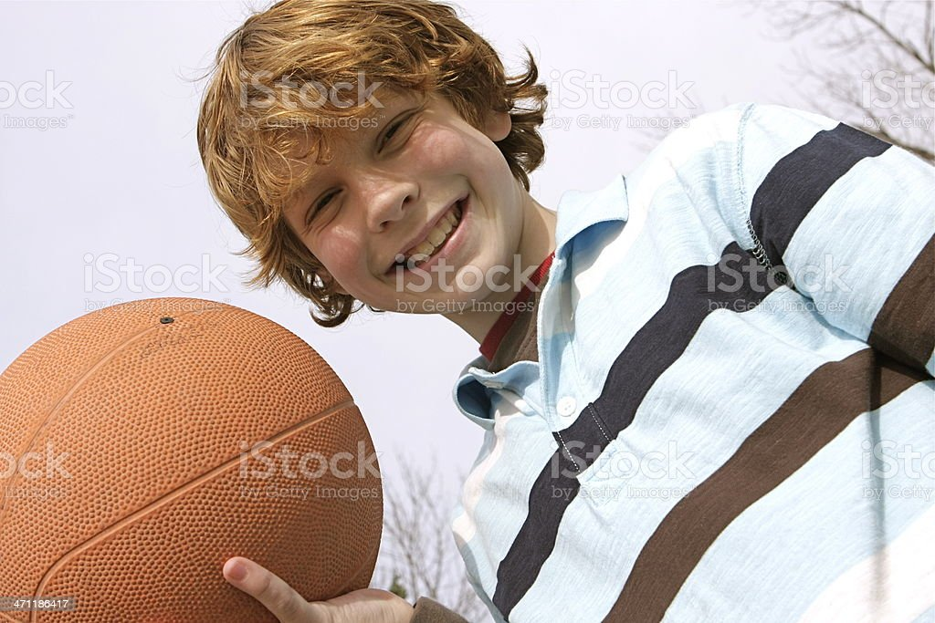 Boy and Basketball royalty-free stock photo