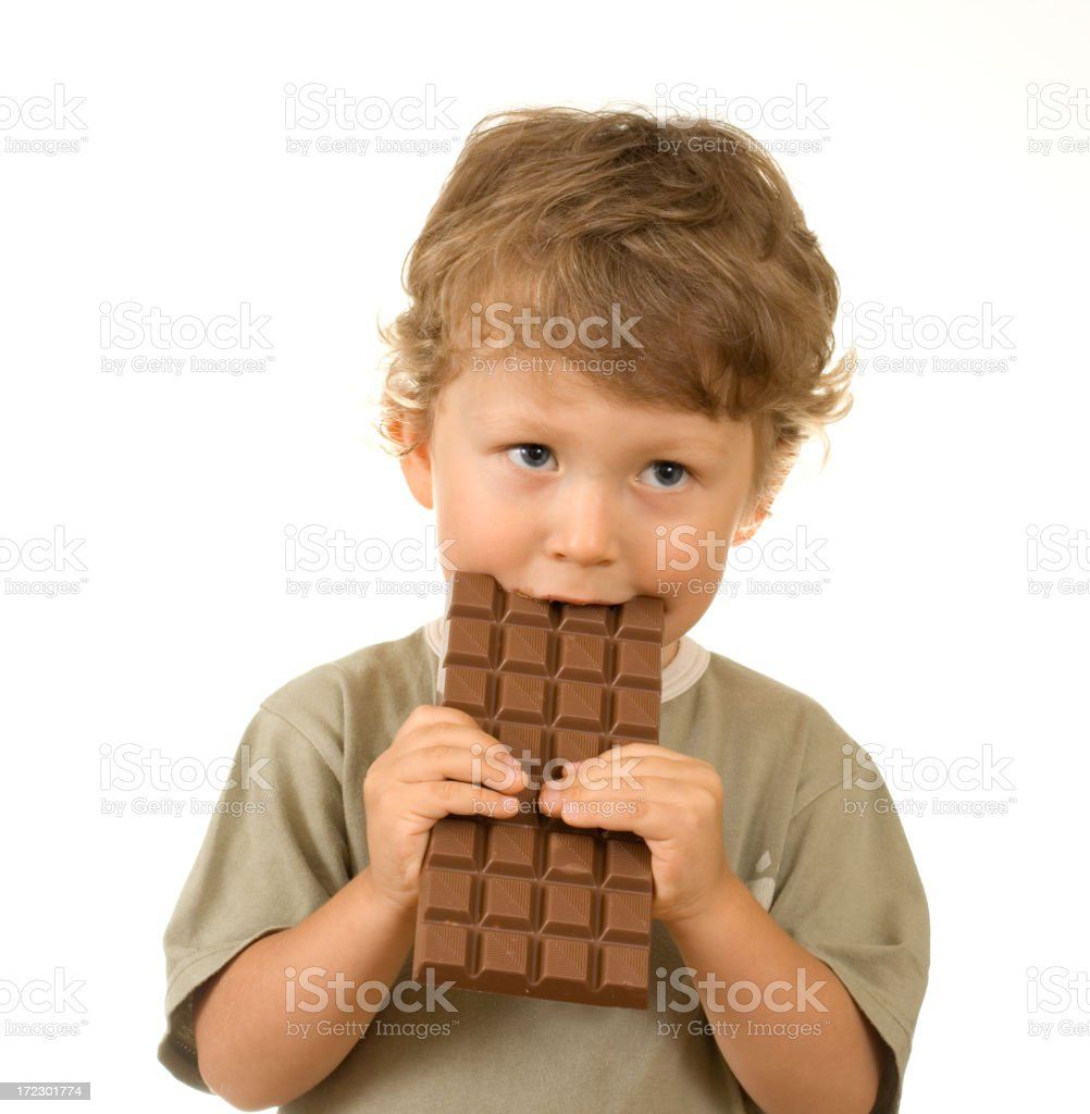 boy and chocolate royalty-free stock photo