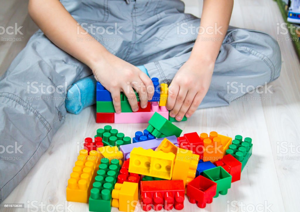 Boy and constructor royalty-free stock photo
