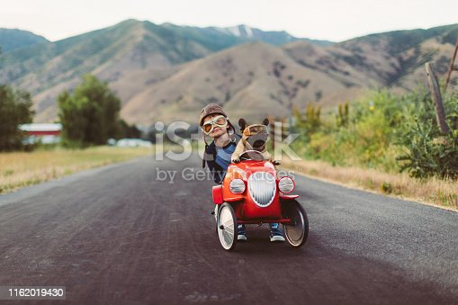1035136022 istock photo Boy and Dog in Toy Racing Car 1162019430