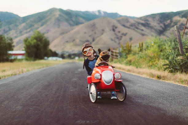 Boy and Dog in Toy Racing Car stock photo