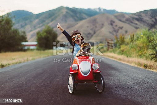 istock Boy and Dog in Toy Racing Car 1162019476