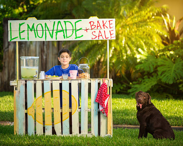 Boy and dog selling lemonade Boy and dog selling lemonade lemonade stand stock pictures, royalty-free photos & images