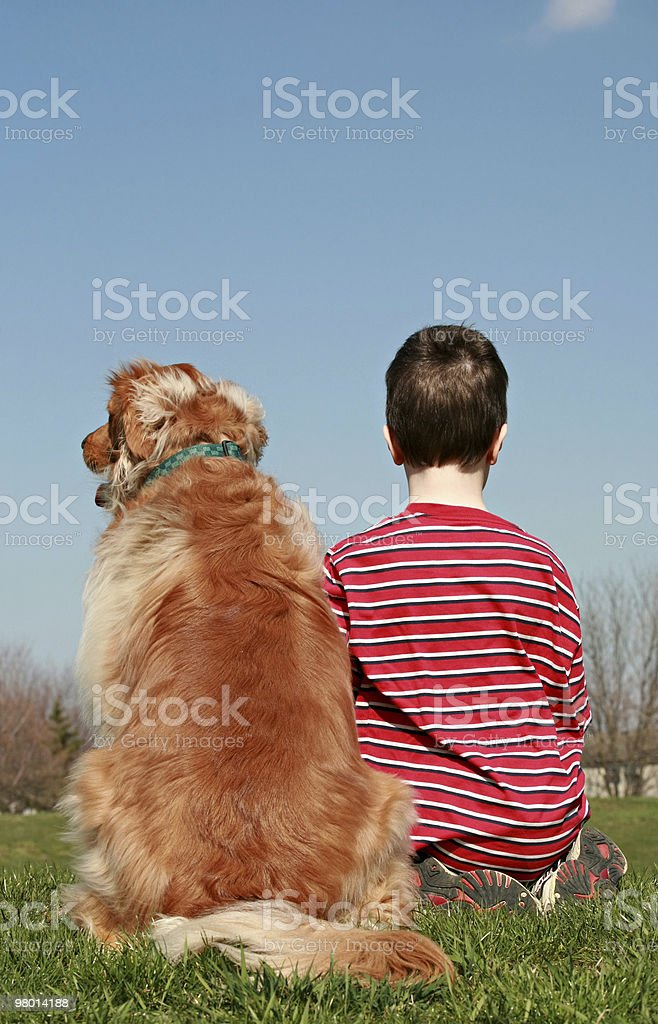 Boy and Dog Sitting on a Hill royalty-free stock photo