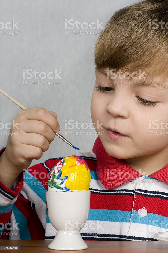 Boy and easter eggs royalty-free stock photo