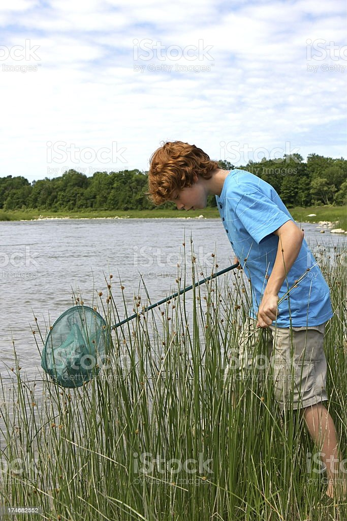 Boy and Fish Net royalty-free stock photo