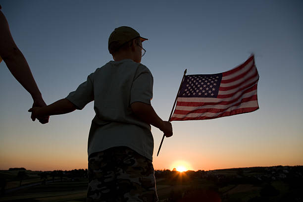 Boy and flag stock photo