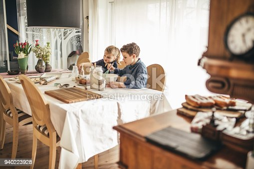664420980 istock photo boy and girl baking cookies on the kitchen desk while having a lot of fun 940223928