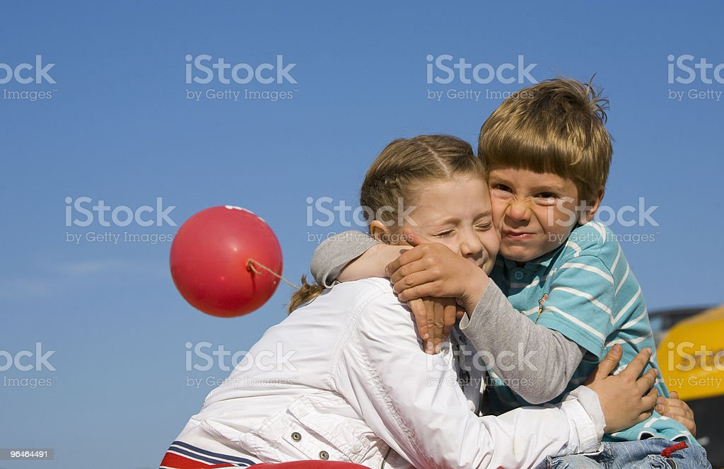 Boy and  girl embrace each other royalty-free stock photo