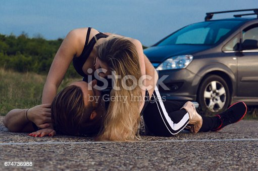 Boy And Girl Having Sex On The Highway Next To The Car