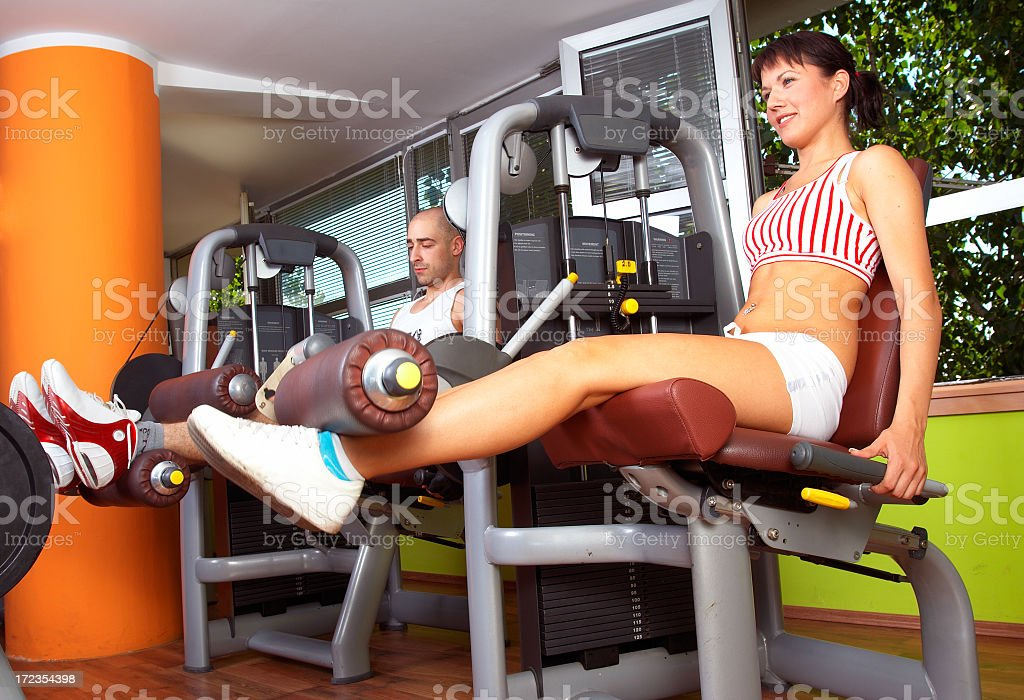 Boy and girl in gym royalty-free stock photo