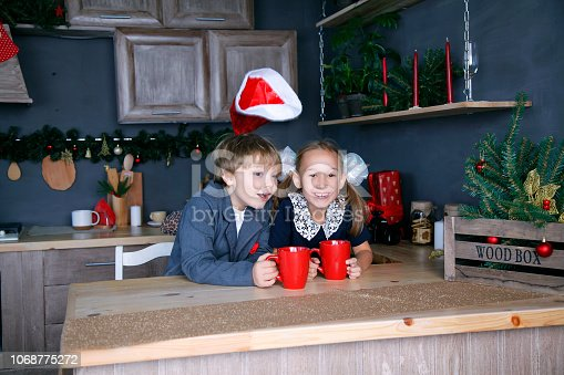 865399512 istock photo Boy and girl in new year 1068775272