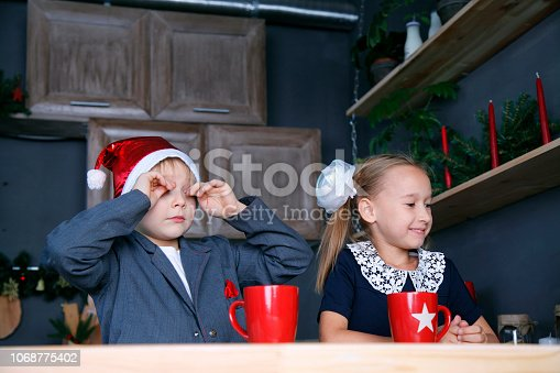 865399512 istock photo Boy and girl in new year 1068775402