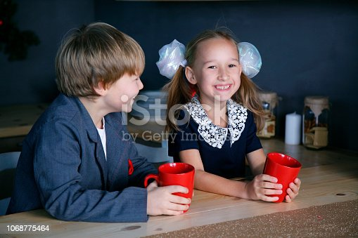 865399512 istock photo Boy and girl in new year 1068775464