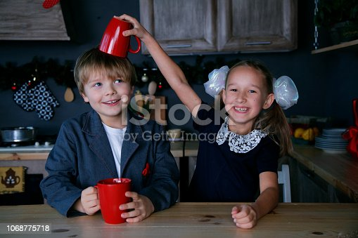 865399512 istock photo Boy and girl in new year 1068775718