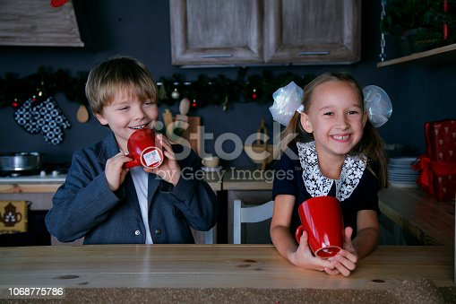 865399512 istock photo Boy and girl in new year 1068775786