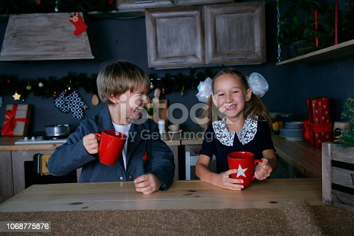 865399512 istock photo Boy and girl in new year 1068775876