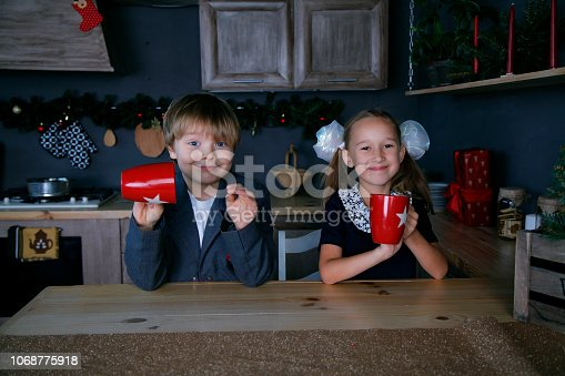 865399512 istock photo Boy and girl in new year 1068775918