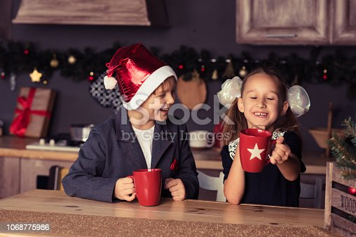 865399512 istock photo Boy and girl in new year 1068775986