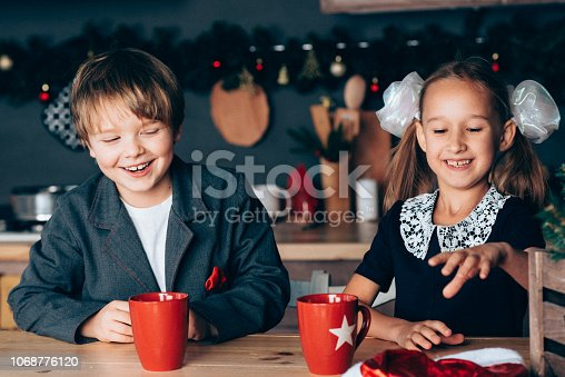 865399512 istock photo Boy and girl in new year 1068776120