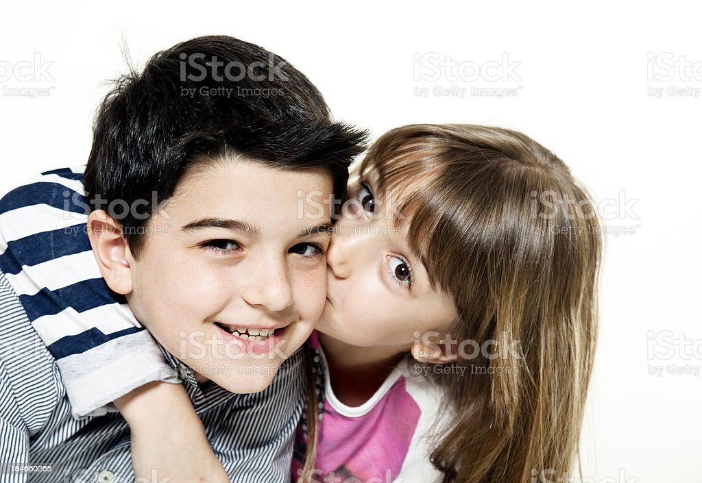 Boy And Girl Kissing Stock Photo  More Pictures Of 10-11 -6060