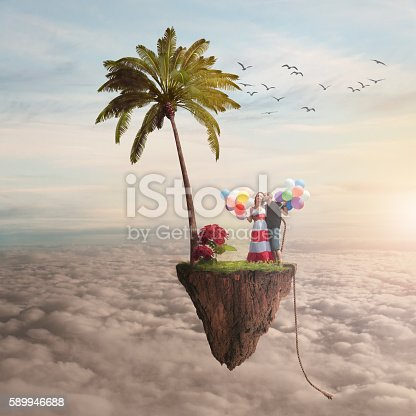 istock boy and girl on a flying island 589946688