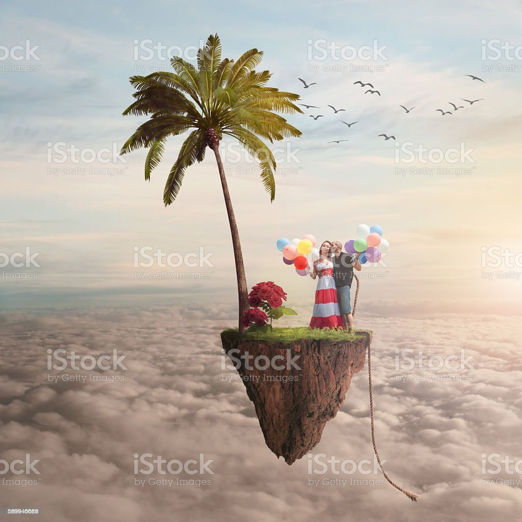 boy and girl on a flying island - foto de acervo