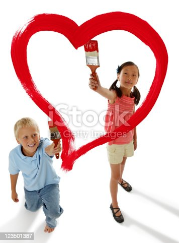123500924 istock photo Boy and Girl Painting a Red Heart 123501387
