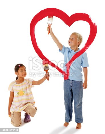 123500924 istock photo Boy and Girl Painting a Red Heart 463072291