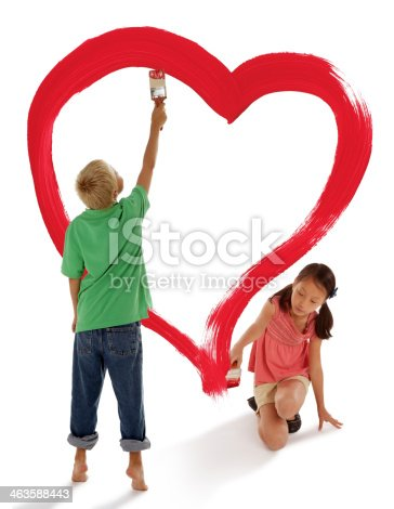 123500924 istock photo Boy and Girl Painting a Red Heart 463588443