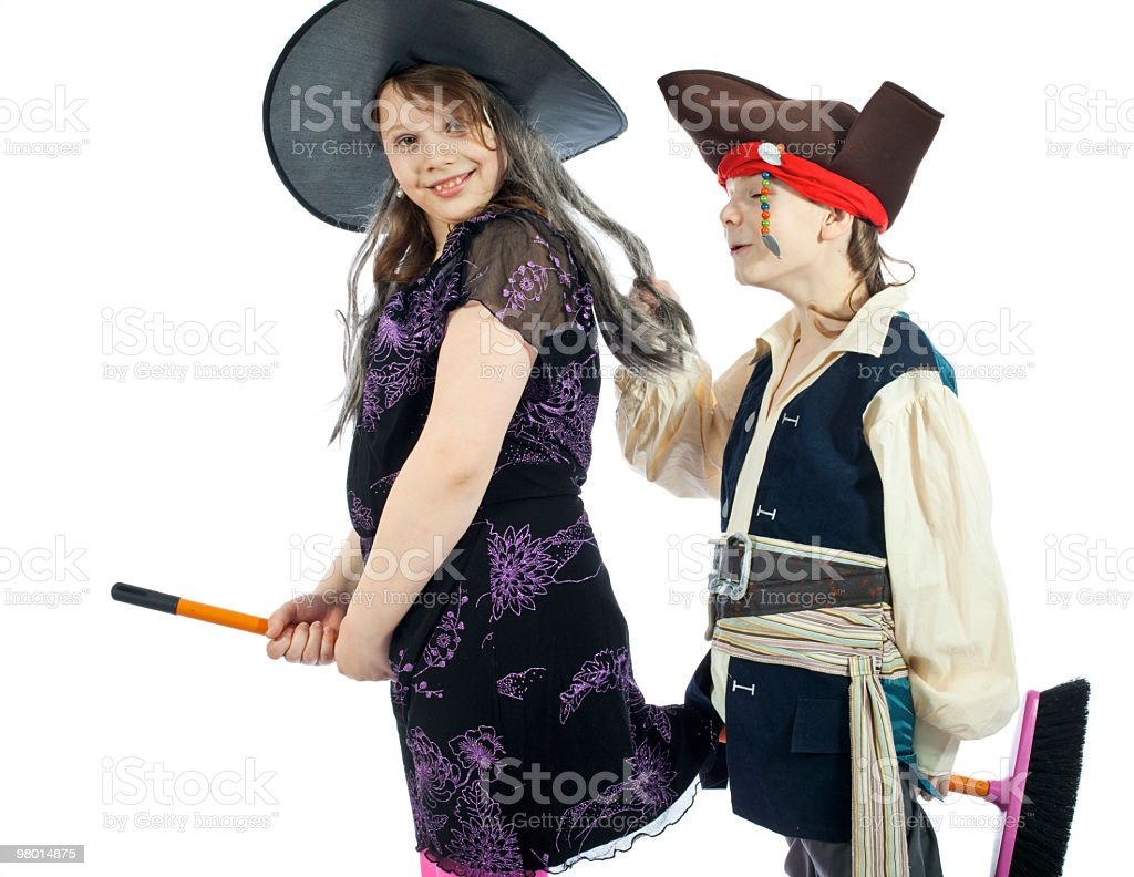 Boy and girl play in theatrical performance royalty-free stock photo