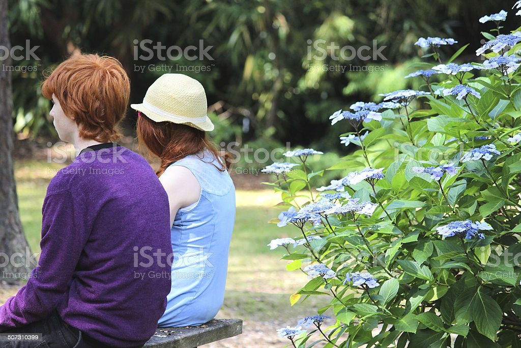 Boy and girl sitting on bench (brother-sisiter), woodland garden, hydrangeas royalty-free stock photo