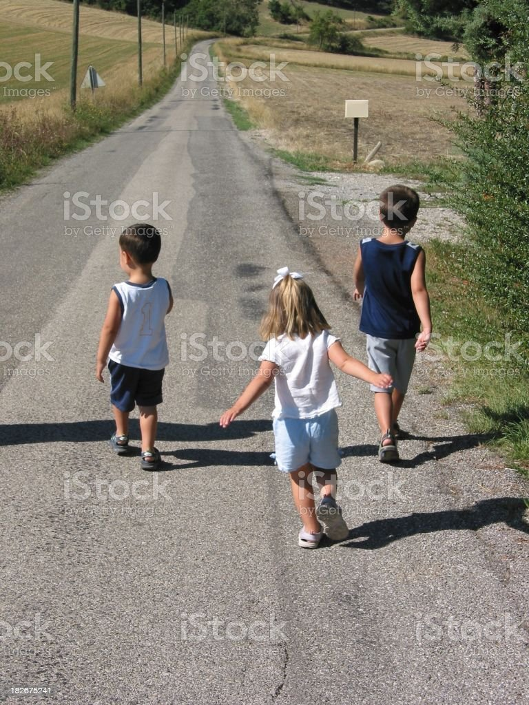 Boy And Girl Walking royalty-free stock photo