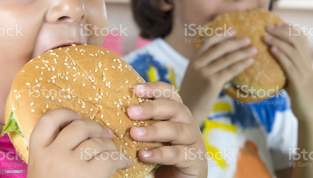 Boy And Girl With Hamburgers stock photo