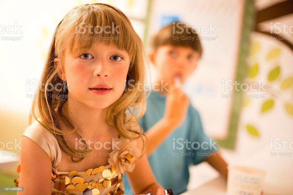 Boy and Girl with Ice Cream stock photo