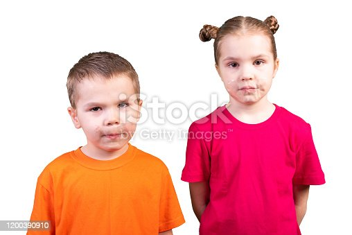 istock Boy and girl with mouths sealed. Isolated on a white background. 1200390910