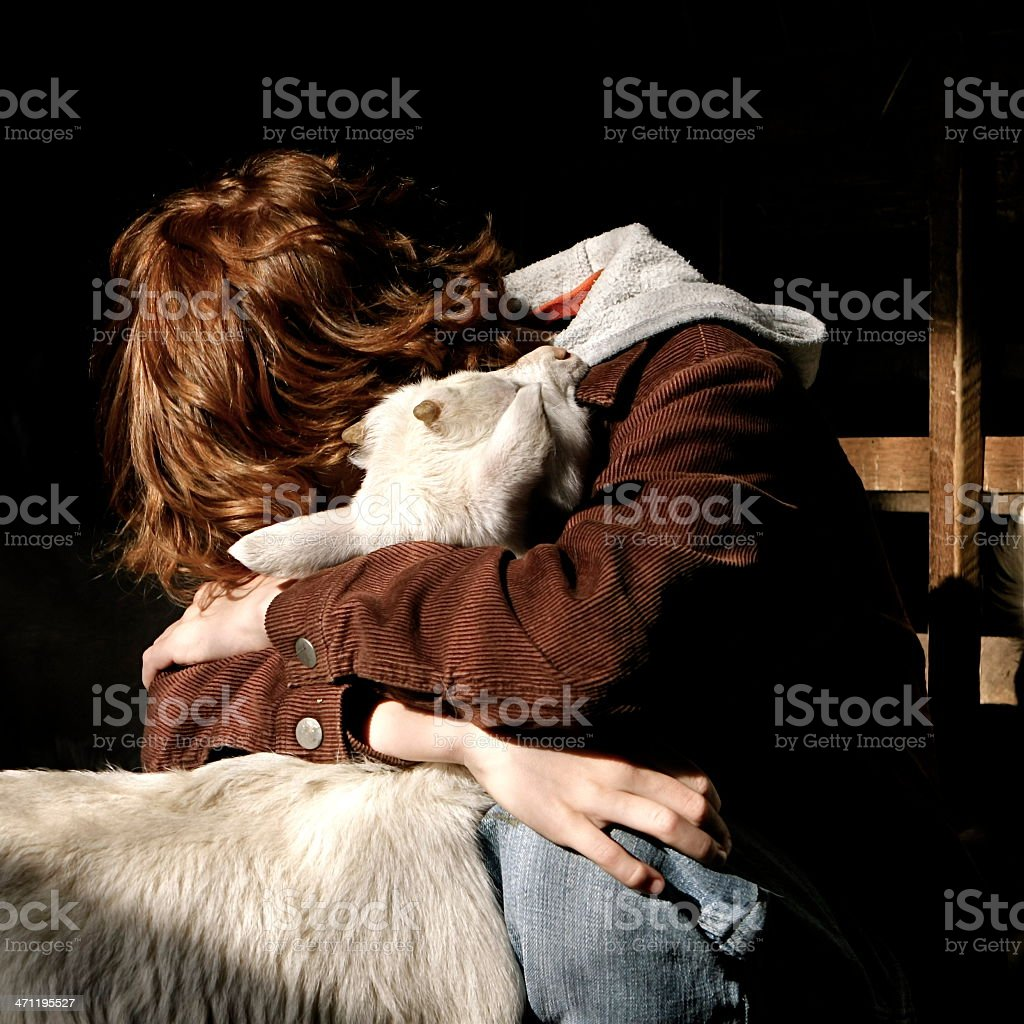 Boy and Goat royalty-free stock photo