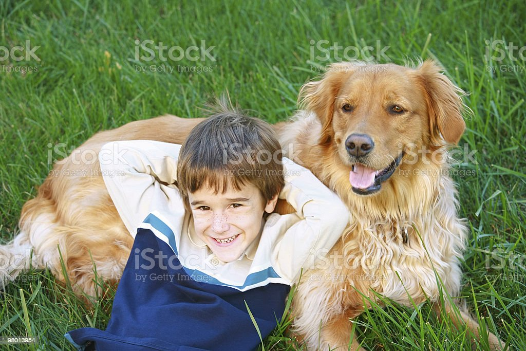 Boy and Golden Retriever royalty free stockfoto