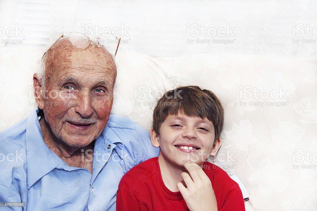 Boy and Grandpa stock photo