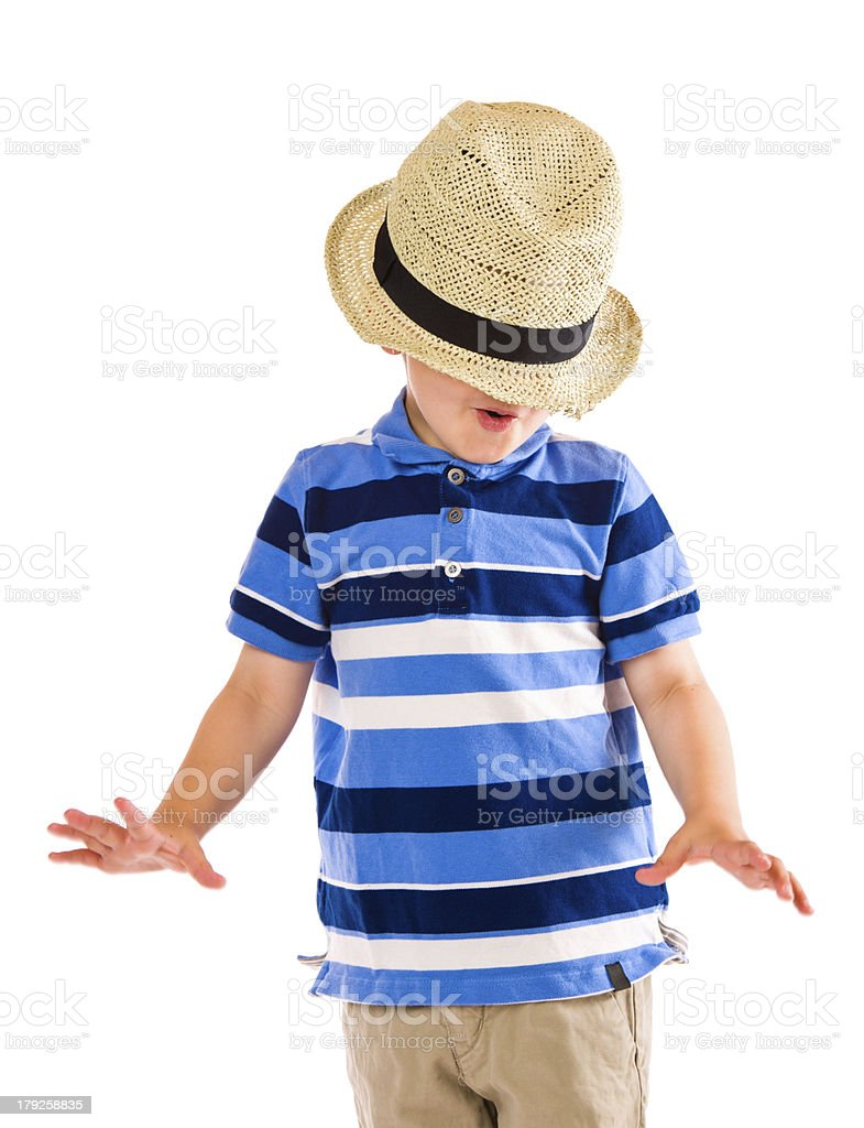 Boy and hat royalty-free stock photo