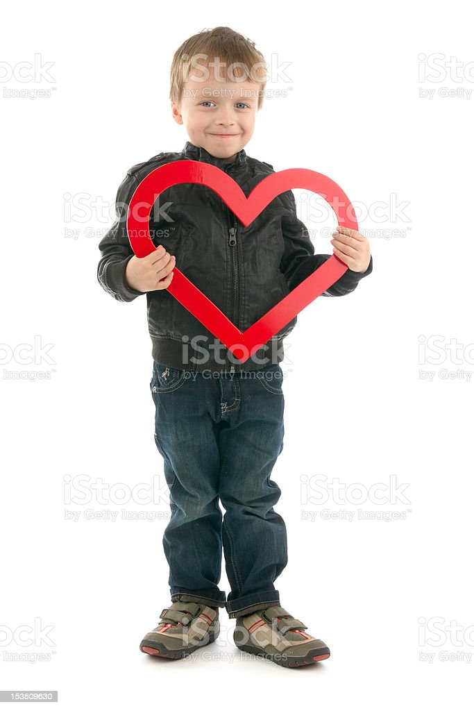 Boy and heart stock photo