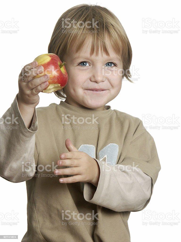 Junge und seine Apple Lizenzfreies stock-foto