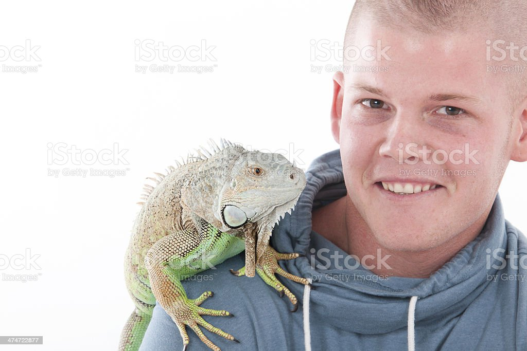 Boy and his dragon stock photo