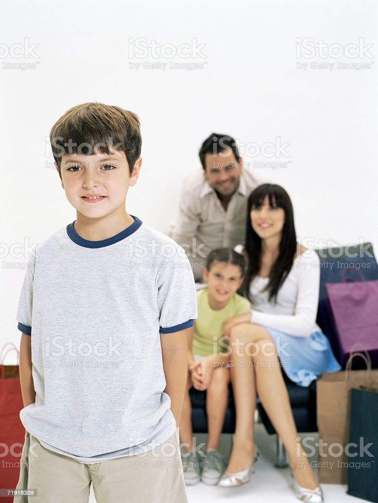 Boy and his family royalty-free stock photo