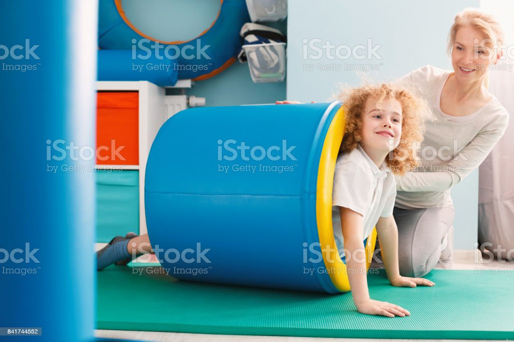 Boy and his therapist stock photo