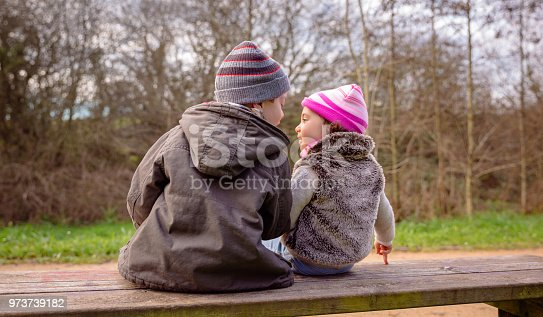 585604690 istock photo Boy and little girl talking sitting on a bench 973739182